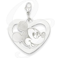 Sterling Silver Disney Mickey Heart Lobster Clasp Charm
