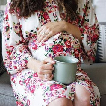 Maternity Robe,Floral Robe,Hospital Robe,Delivery Gown,Baby Shower Gift,Gift for New Mom,Loungewear,Nursing Top,Postpartum Robe,Pregnant