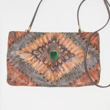 Vintage Peacock Feather Purse | Boho Evening Bag Handbag Clutch with Real Peacock Feathers | Crossbody Purse