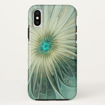 Modern Art Fantasy Flower Turquoise Wheat Monogram iPhone X Case