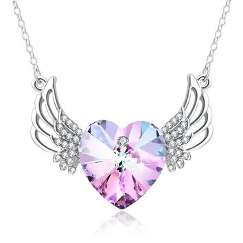 Angel Wing Necklace Valentine's Gifts PLATO Angel Wings Guarded Heart Pendant Necklace with Swarovski Crystals, Heart Shape Necklace Gift for Woman, 18""