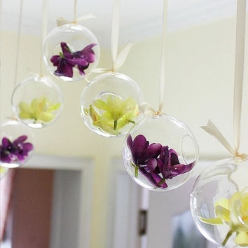 O.RoseLif Brand Tiny Hot Clear Glass Globes With 1 Hole Flower  Hanging Vase Hydroponic Home Office Wedding Decor