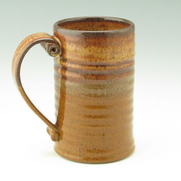 Holiday SALE Stoneware Beer Tankard Singles - Modern 20-22 oz Coffee Mug in Honey & Cinnamon - Handmade Pottery XLarge Beverage Mug - Guys o