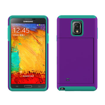 Samsung Galaxy Note 4 Dual Layer Credit Card Hybrid Case , ID Holder with Kickstand - Teal/Purple