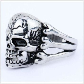 ac spbest 2015 Man's Ring Gothic Men's Skull Flower Biker Zinc alloy Ring Man fashion rings Free shipping