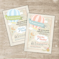 Hot Air Balloon Baby Shower Invitation - Oh the Places You'll Go Co-ed couple shower invitation - Up up and away Invite Printable baby girl
