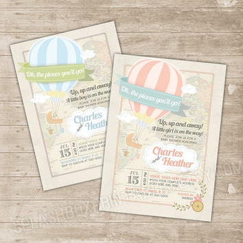 Hot Air Balloon Baby Shower Invitation   Oh The Places Youu0027ll Go Co
