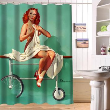 """LUQI NEW ARRIVE """"Pin-up Magician"""" sexy woman Personalized Custom Shower Curtain Bath Curtain Waterproof  MORE SIZE  SQ-S19"""