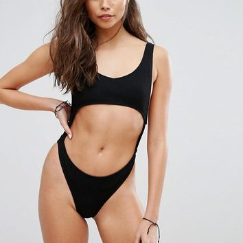 Motel Black Textured Cut Out Swimsuit at asos.com