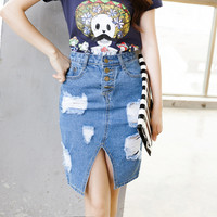 Women's Denim Pencil Skirt with Hole and Front Slit