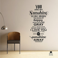 You Are My Sunshine Wall Quote Decal - Vinyl Word Art