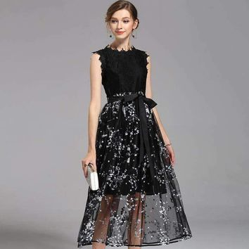 Black Lace Design Top Quality Women Party Dress Wear,Summer Dress 2Pieces