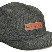 Skyed Apparel 5 Panel Highland Forest Wool Camper Hat with Genuine Leather Strap