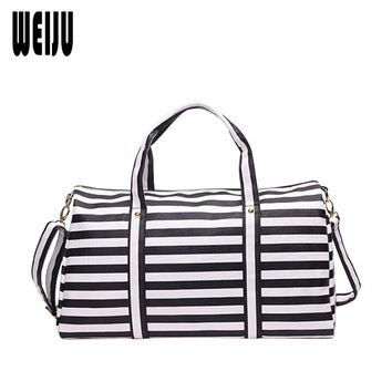 WEIJU New Women Travel Bag Fashion Striped PU Travel Bags Large Capacity Luggage Traveling Handbags Duffle Bag Shoulder Bags