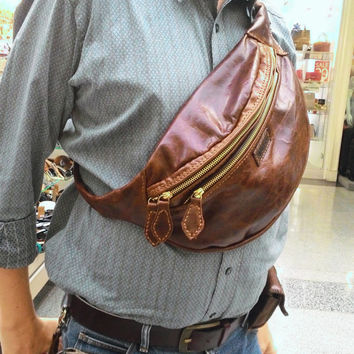 Balong brown  chest bag leather mans