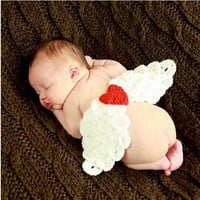 014 New  Handmade Newborn Lovely Angel Wings baby Photography Props Crochet Cotton Knit Beanie Hats Set Suits L&B = 1958357124