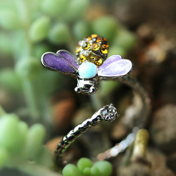 Bee Shape Ring Women's Girl's nature Theme Insect Bug Ring Adjustable Open Free Size Wrap Ring Crystal gift idea