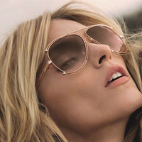 2016 Oversized Oval Designer Sunglasses Hollow Out Alloy Frame Men Women Retro Shades Glasses Cool Eyewear Oculos De Sol 808