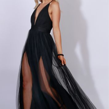 Sheer Mesh Maxi Dress Black