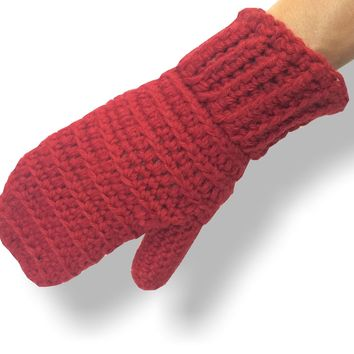 Hand Knit Ribbed Alpaca Mittens