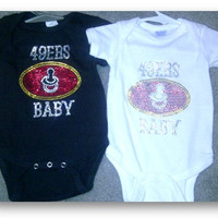 49ers Baby Onesuit  Black/Size 6 months by CharmingBling on Etsy