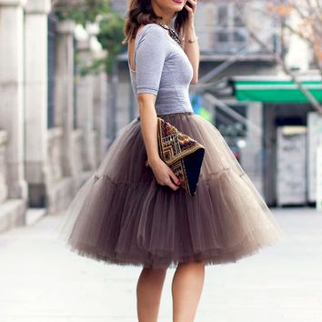 Happy Tiers Layer Brown Tulle Chiffon Elastic Waist Pleated Circle A Line Flare Midi Skirt