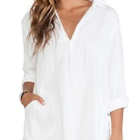 Soho Chic White Long Sleeve V Neck Loose Tunic Shirt Mini Dress