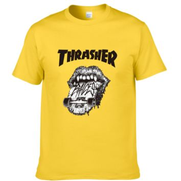 Thrasher Summer fashion new bust letter Lips print T-shirt men and women short sleeve top Yellow