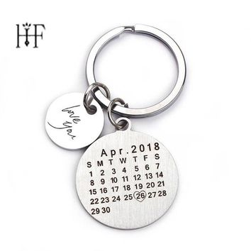 2019 Personalized Calendar Keychain Hand Carved Stainless Steel Private Custom Brelok