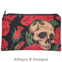 Rockabilly Gothic Skulls and Roses Zipper Pouch Makeup Bag Gadget Bag Clutch