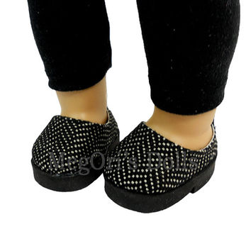 American Girl Doll Clogs in Gray Black with Chunky Soles, Herringbone Motifs