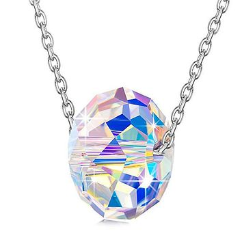 Sterling Silver Cluster Aurora Borealis Necklace