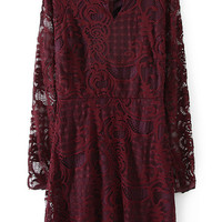 Wine Red Long Sleeve Lace Crochet Ruffled Mini Shift Dress