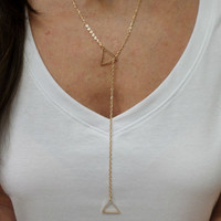Double 14k Gold Filled Triangle Long Layering Pendant Necklace - Small Triangle Layer Necklace, 2 Triangle Layering Necklace