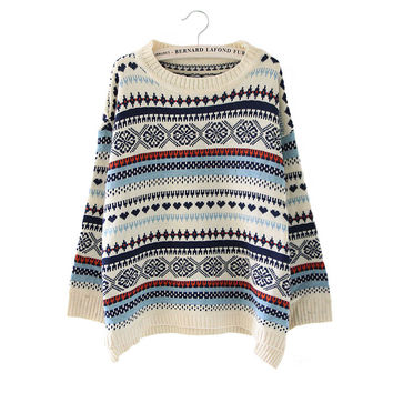 Women's Fashion Long Sleeve Pullover Split Knit Tops Sweater [8422524161]