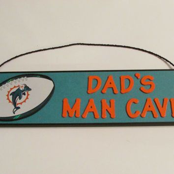 Miami Dolphins Football Dad's Man Cave Sign - Father's Day - Personalized Kids Room Decor