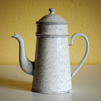 vintage French enamelware coffee biggin, white with chicken wire pattern, complete with filter