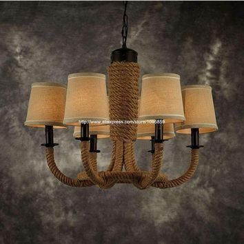 6-Lights Retro Vintage Handmade Hemp Rope Chandelier Light Lamp Bedroom Industrial Ceiling Fixtures Lighting