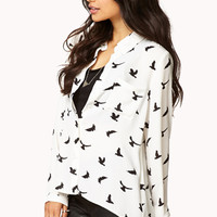 Girly Bird Print Shirt