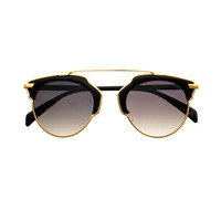 Fashion Metal Top Bar Celebrity Style Womens Round Sunglasses R3150