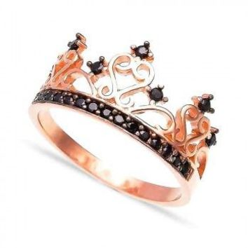 Sterling Silver Rose Gold Plated Black CZ Crown Ring