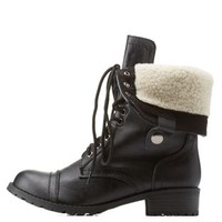 Black Shearling-Lined Combat Boots by Charlotte Russe