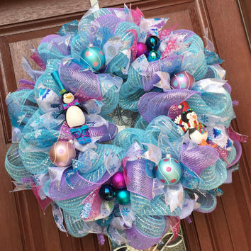Pastel Blue purple deco mesh christmas wreath, pink blue teal silver purple holiday wreath, penguin wreath holiday wreath