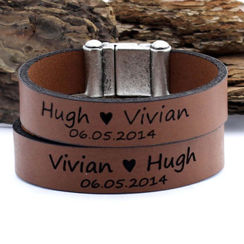 Personalized Couples Bracelet, Engraving Jewelry, Matching Leather Bracelet, Egraved Bracelet, Anniversary Gift, Heart Bracelet, Couple Gift