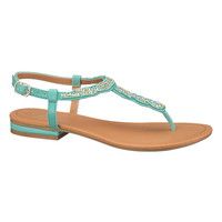 Cool Aqua Jillian Rhinestone Twist Sandal - Cool Aqua