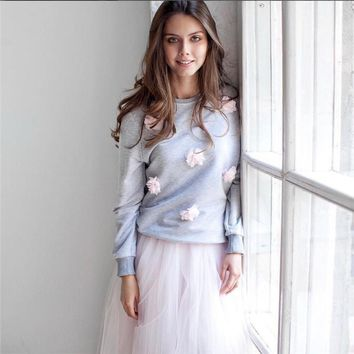 T-shirts Hot Sale Autumn Women's Fashion Floral Round-neck Long Sleeve Sweater [11771642831]