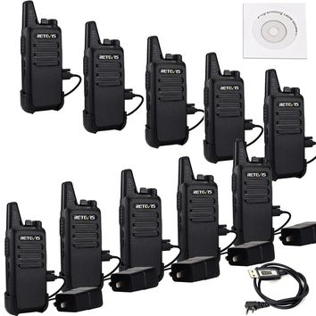 Retevis RT22 Two Way Radio 16 CH VOX 400-480MHz CTCSS/DCS Rechargeable Walkie Talkies(10 Pack) and Programming Cable