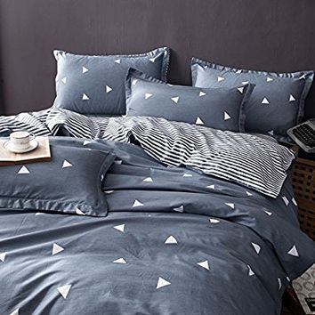 "BuLuTu Geometric Triangle Cotton Twin Teen Bedding Collections Navy/Grey 3 Pieces Reversible Promotional Boys Bedding Duvet Cover Sets Zipper Closure For Kids Adults,68""x86"""