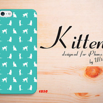 Cute iPhone 4 case, kitten mint iPhone 5S hard case,  cute cat iPhone 5C cover with iPhone hard 5 case.Case for iPhone 4 / 4S / 5 / 5S / 5C