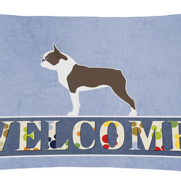 Boston Terrier Welcome Canvas Fabric Decorative Pillow BB5548PW1216
